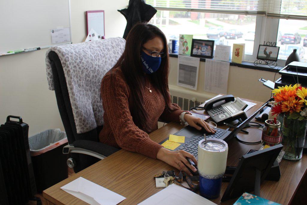 Kascha working at desk