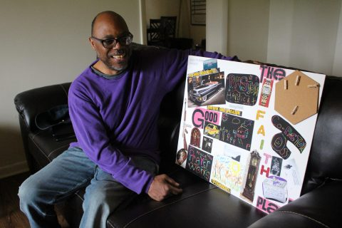 Army veteran with his vision board
